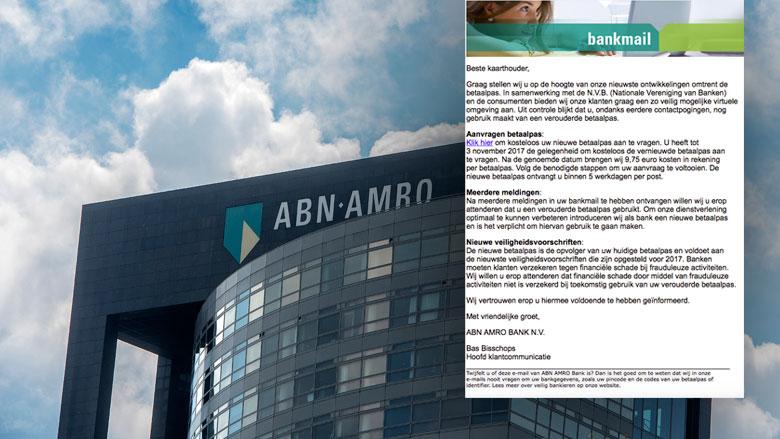 Phishingmail 'ABN AMRO' over nieuwe betaalpas