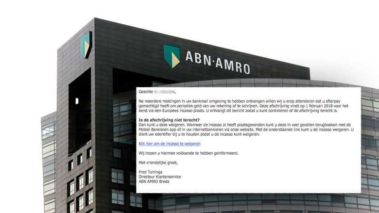 Valse e-mail 'ABN AMRO' over afschrijving