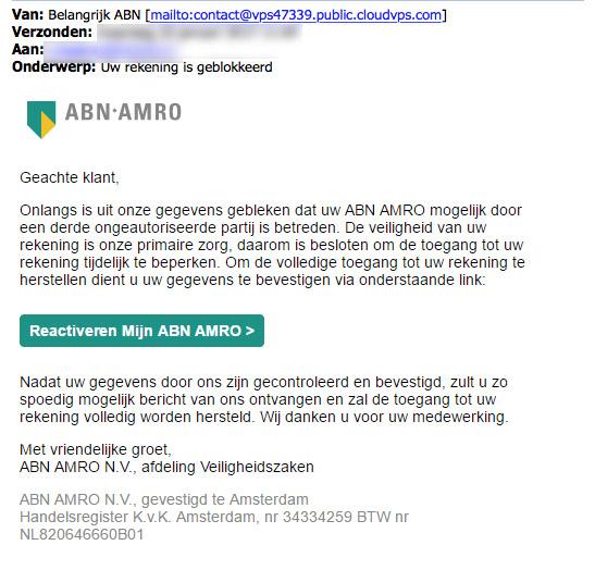 Valse e-mail 'ABN AMRO': rekening geblokkeerd