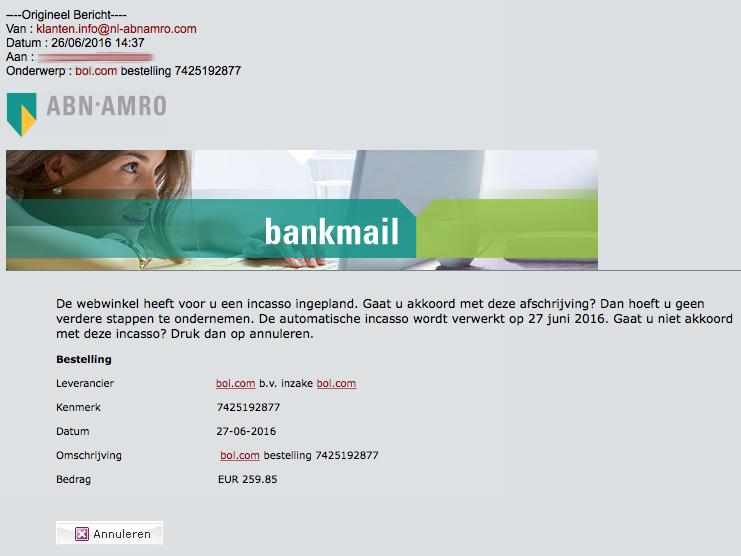 Valse e-mail uit naam van ABN AMRO en Bol.com