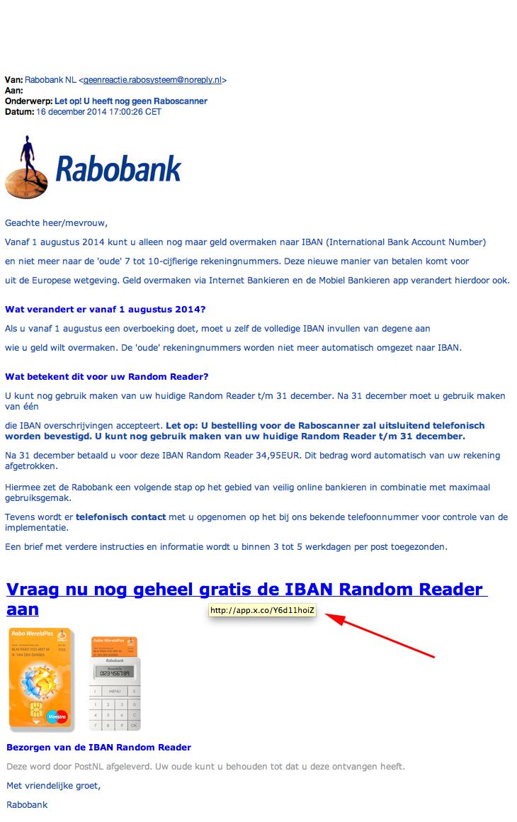 Valse e-mail Rabobank: 'gratis Random Reader'