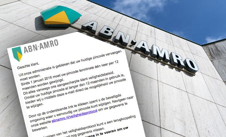 Pas op! Opnieuw phishingmail 'ABN AMRO' in omloop