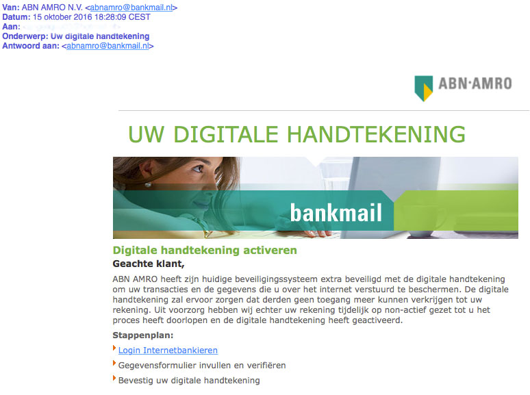 Phishingmail 'ABN AMRO' over digitale handtekening