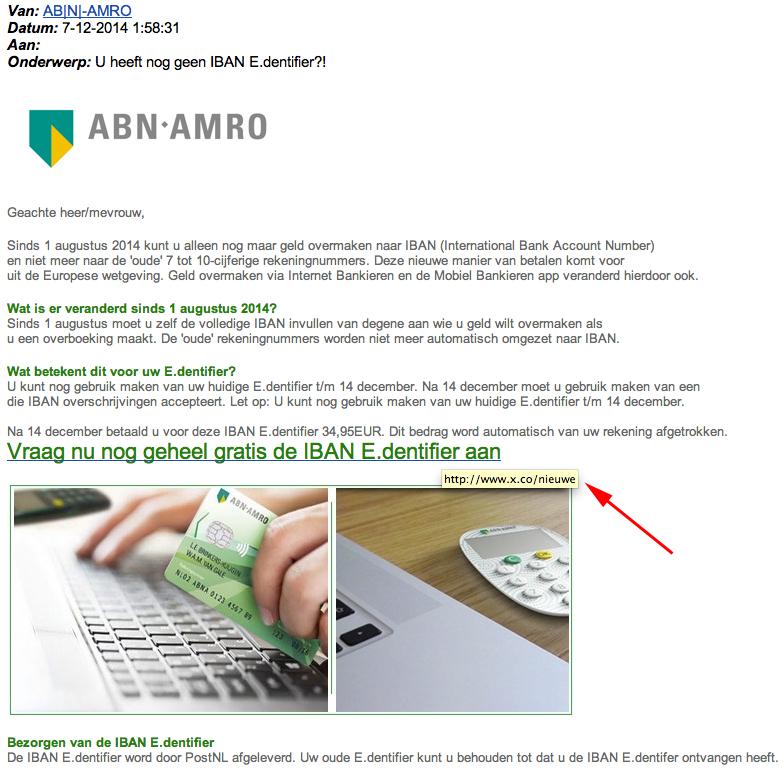 Valse e-mail ABN AMRO: 'gratis IBAN E.dentifier'