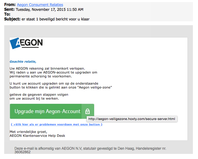 Valse e-mail Aegon over update rekening