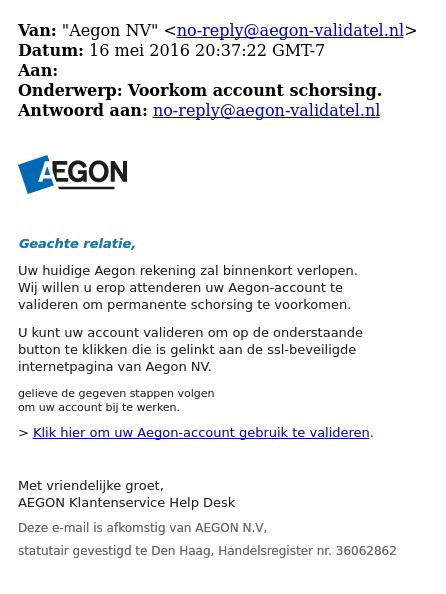 Pas op voor mail 'Aegon' over schorsing rekening
