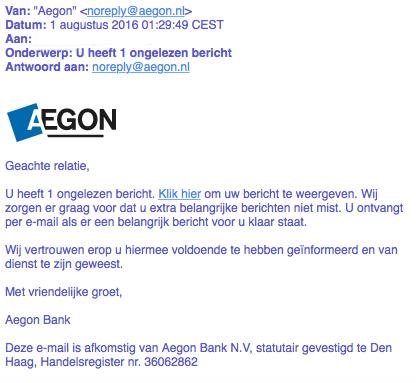 Pas op voor phishingmail 'Aegon'
