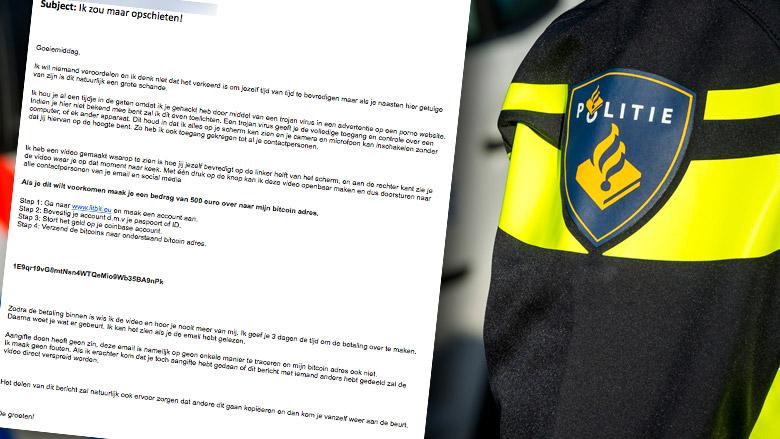 Politie waarschuwt voor afpersing per brief en e-mail