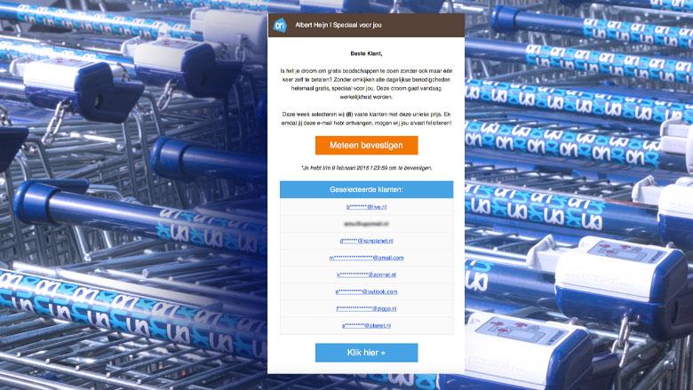 Valse winactie Abert Heijn: gratis boodschappen doen