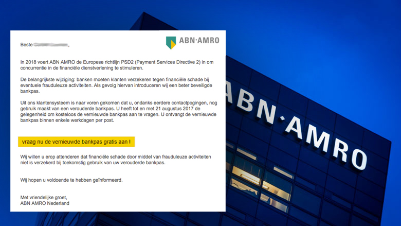 Nepmail ABN AMRO over inloggen ander IP-adres