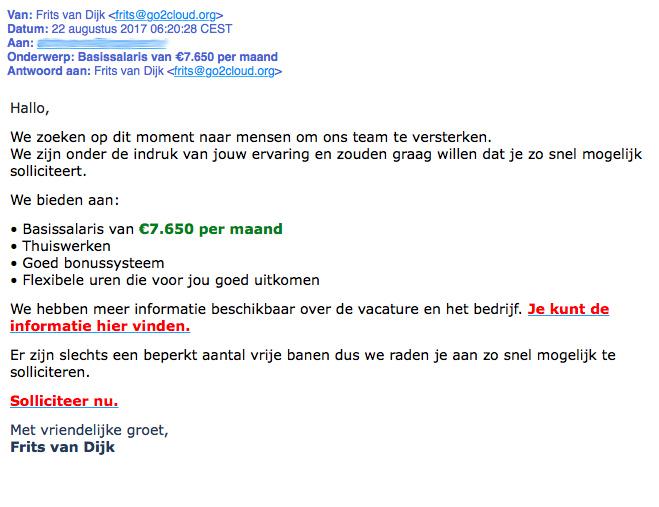 Opnieuw waarschuwing mail 'basissalaris van €7650'