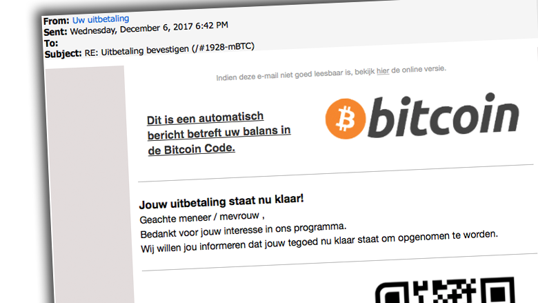 Mail over uitbetaling bitcoins is nep