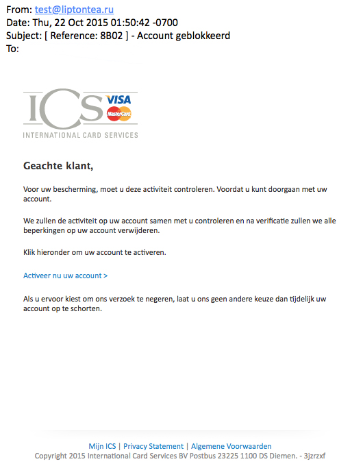 Mail ICS over blokkering pas is vals