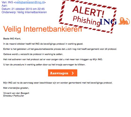 Valse mail ING: 'ingelogd ander IP-adres'