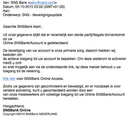 Valse mail SNS over beveiligingsupdate