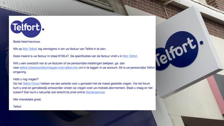Mail 'Telfort' over factuur is phishing