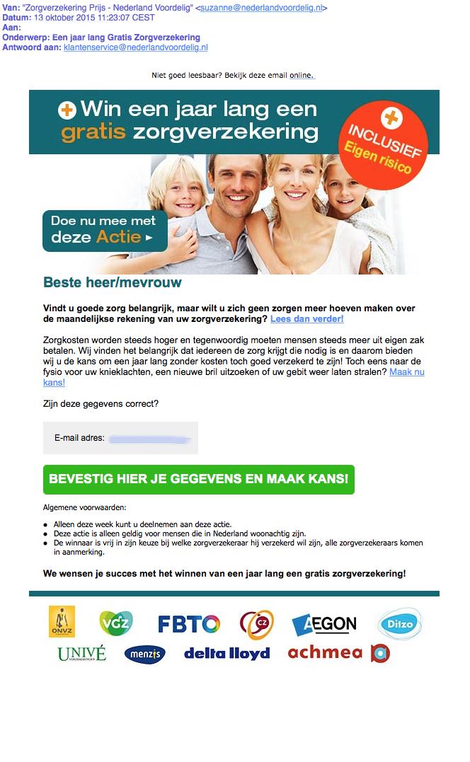 Pas op voor mail over gratis zorgverzekering
