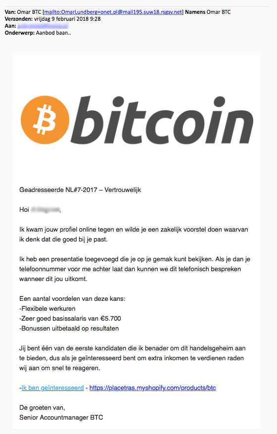 Ga niet in op mail over 'The Bitcoin Code'