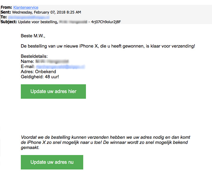 Nepmail over gewonnen iPhone X