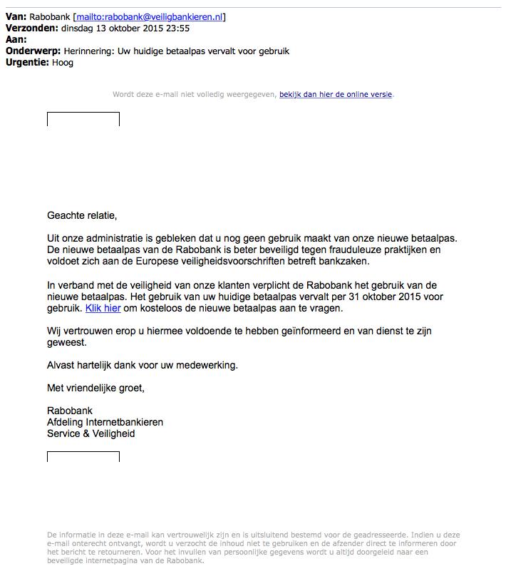 Valse mail Rabobank over vervallen huidige bankpas
