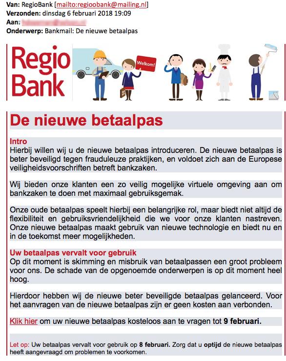 E-mail 'RegioBank' over nieuwe betaalpas blijkt phishing