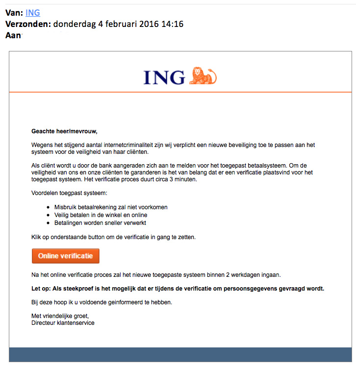 Valse e-mail ING: online verificatie
