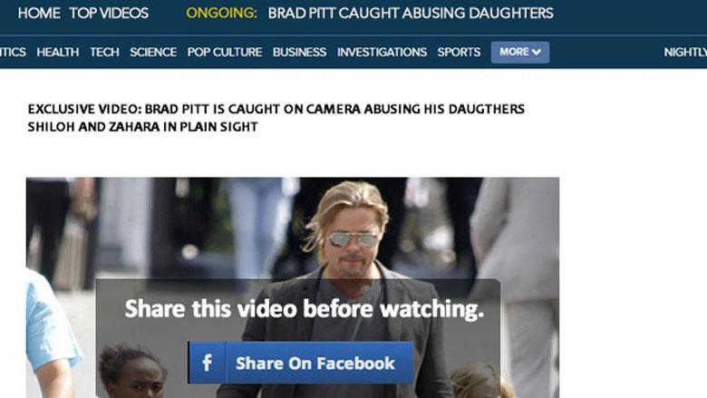 Malware bij nepfilmpje 'Brangelina' op Facebook