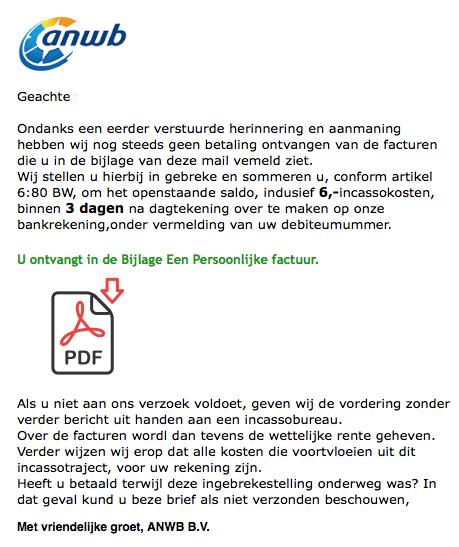 ANWB waarschuwt voor nepmail