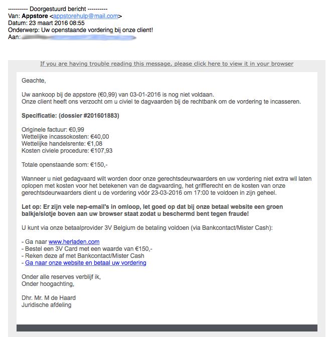 Valse e-mail van 'Appstore'