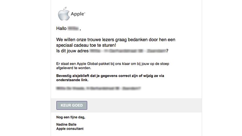 Let op! 'Apple' e-mail is vals