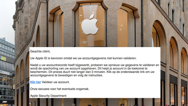 Vals e-mail 'Apple': 'Uw account wordt bevroren'