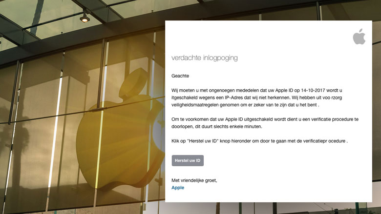 E-mail uit naam Apple over verdachte inlogpoging is phishing