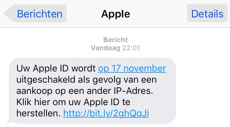 Pas op voor sms over 'Apple ID'