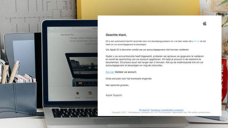 Opnieuw valse e-mail 'Apple' over bevroren account