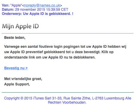 Pas op voor valse mail: 'Apple ID geblokkeerd'