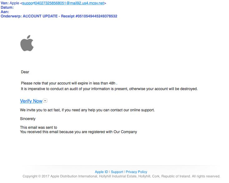 Fraudeurs verspreiden valse e-mail 'Apple'