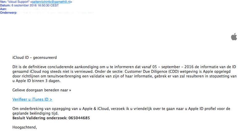 Phishingmail 'iCloud Support'