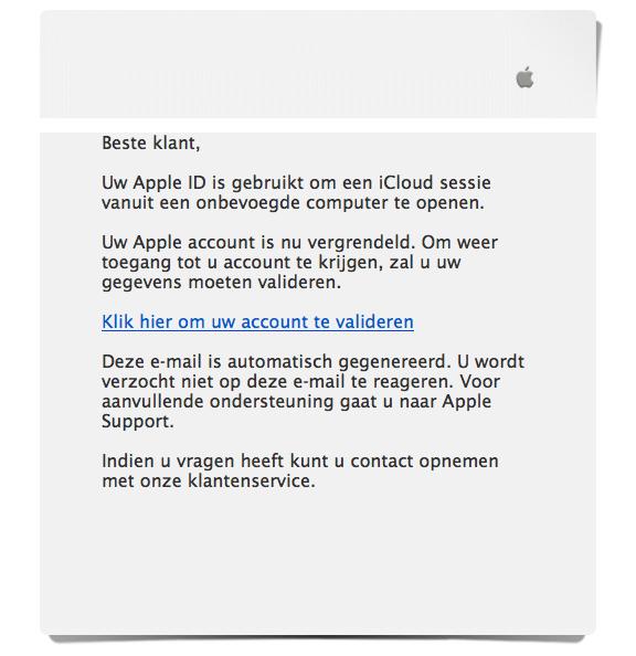 Pas op voor phishingmail 'Apple'
