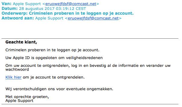 Valse e-mail 'Apple Support' over ontgrendelen account