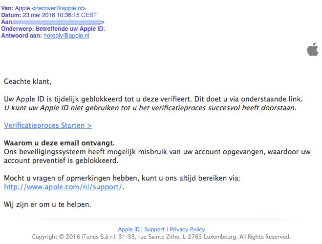 Opnieuw valse e-mail uit naam van Apple