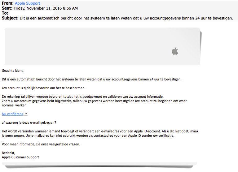 Phishingmail 'Apple': account verifiëren