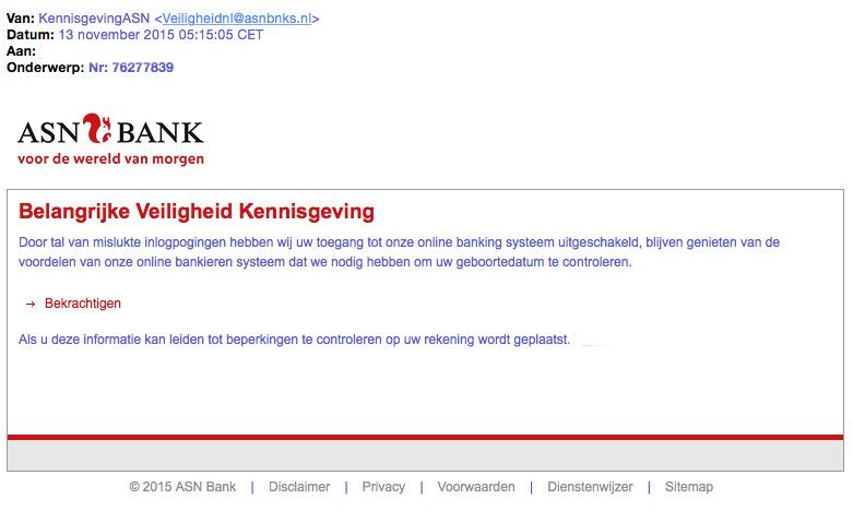 Valse mail ASN over 'kennisgeving veiligheid'