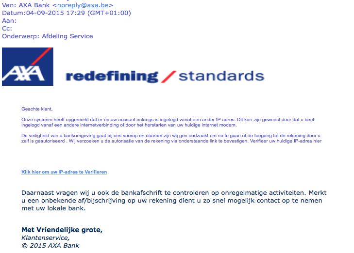 Valse mail AXA Bank 'IP-adres verifiëren'