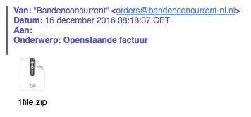 Gevaarlijke e-mail 'Bandenconcurrent'