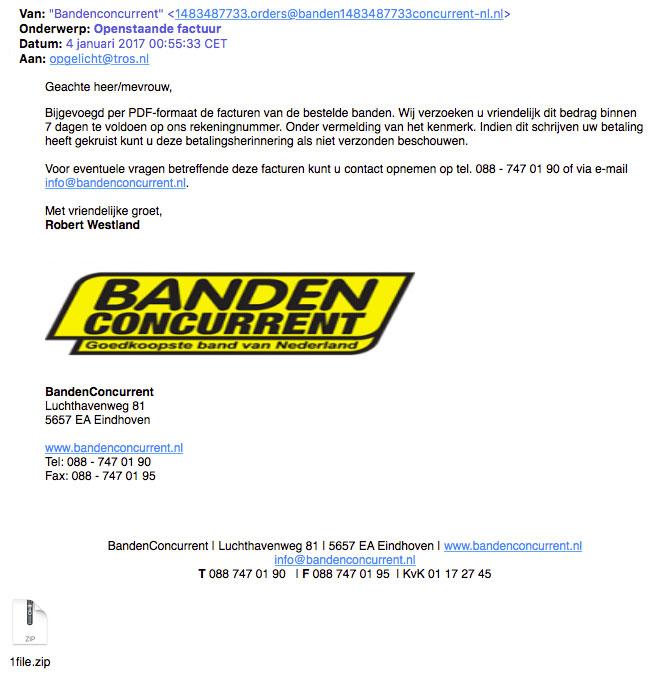 Fraudeurs sturen opnieuw gevaarlijke e-mail 'Bandenconcurrent'