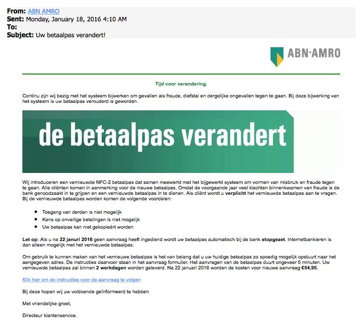 Nepmail ABN AMRO: 'uw betaalpas verandert'