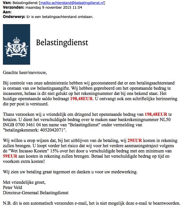 Valse mail Belastingdienst over betalingsachterstand