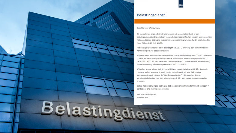 Valse e-mail 'Belastingdienst' over betalingsachterstand
