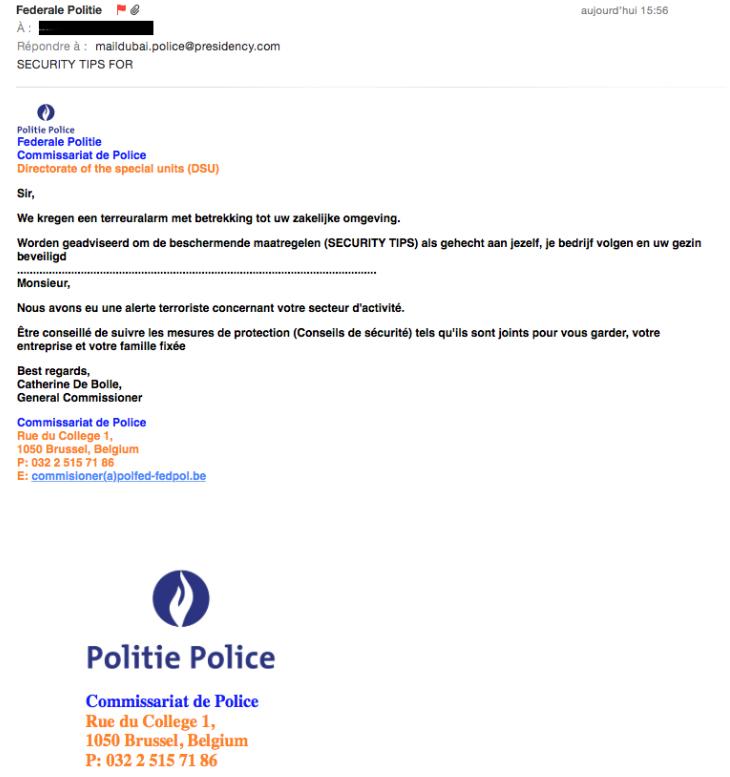 Politie België waarschuwt voor nepmail: 'terreuralarm'