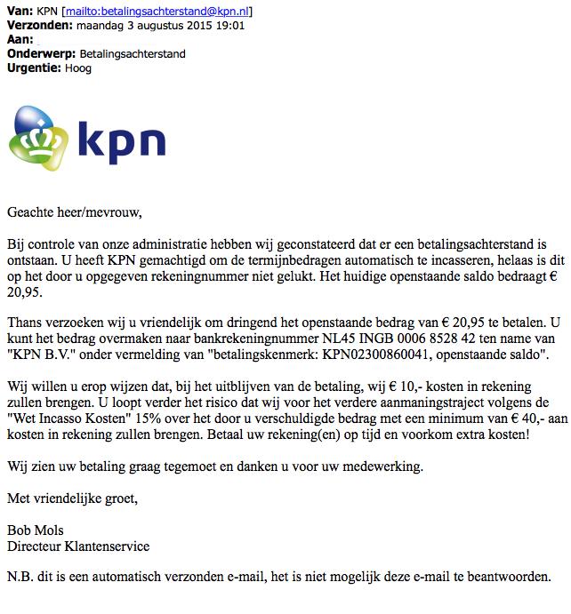 E-mail 'KPN' over betalingsachterstand is vals